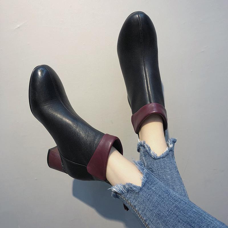 粗跟短靴女秋冬女鞋2019冬季新款裸靴秋鞋粗跟中跟靴圆头休闲女靴 黑色