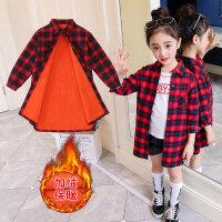 儿童加绒衬衫 女童中长款加棉衬衫2020新款韩版衬衣女孩冬装中大童儿童字母加厚格子衬衫
