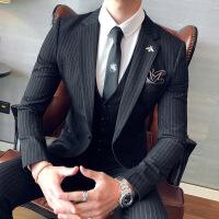 【秋冬新品】高端专柜品牌条纹西装男套装韩版帅气修身正装三件套上班男士西服新郎结婚礼服