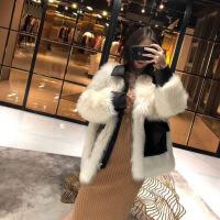 欧美站新款羊羔毛拼接皮草外套女2019流行冬装中长款毛毛大衣女潮 白色