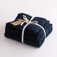 格子双层纱布全棉裸睡四件套简约水洗全棉床上用品三件套定制