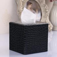 时尚亮面纸巾盒鳄鱼纹 复古皮革卷纸抽纸盒子方形创意皮革面卷筒纸抽盒客厅抖音