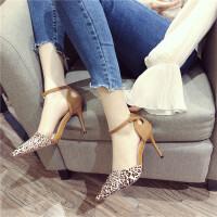 时尚休闲复古女士一字扣带浅口细跟高跟鞋新款百搭女鞋