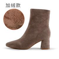 靴子女秋冬新款2019欧美粗跟绒面中筒尖头高跟鞋女粗跟惠东女靴