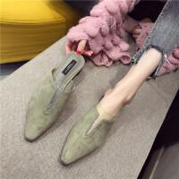 包头拖鞋女2019春季新款时尚小方头低跟拖鞋外穿气质百搭穆勒鞋