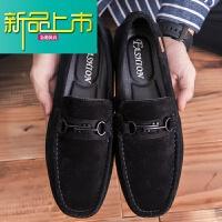 新品上市19新款豆豆鞋男真皮英伦磨砂皮鞋软底一脚蹬懒人鞋子翻毛鞋春季