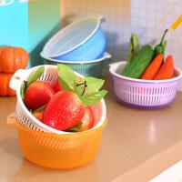 双层塑料洗菜盆漏筛厨房洗菜篮子水果蔬菜篮 沥水盆沥水篮子多色随机