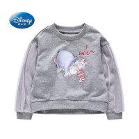 迪士尼童装2020秋新款女童针织套头卫衣儿童潮酷卡通卫衣蕾丝上衣