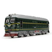 仿真声光回力版怀旧东风火车蒸汽绿皮合金火车模型玩具