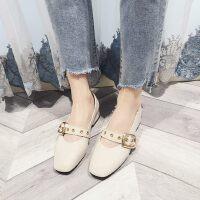 韩版方头套脚豆豆鞋低方跟瓢鞋金属皮带扣装饰浅口单鞋女