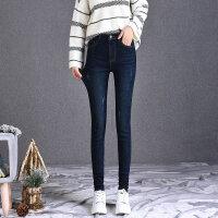 加绒牛仔裤女2018新款大码胖韩版高腰冬季显瘦加厚高个子加长裤