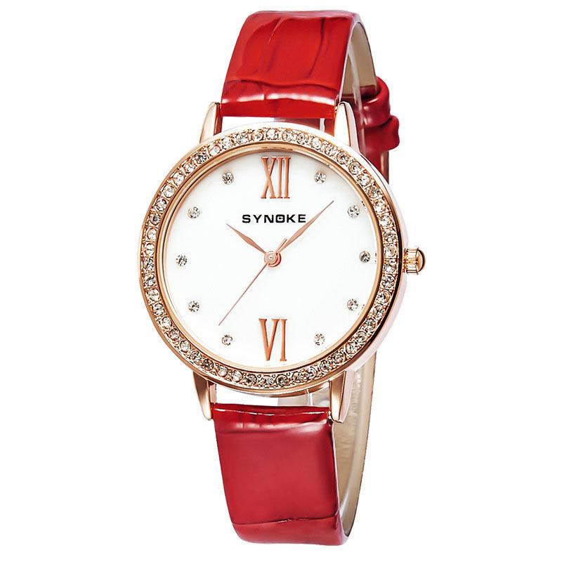 潮流女士手表皮带石英表防水皮带时装手表 黑色