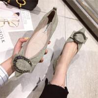 2019新款平底鞋子韩版水钻扣浅口尖头软底单鞋女鞋通勤工作鞋女鞋