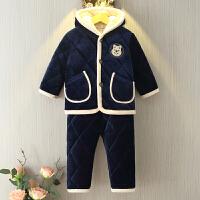 儿童法兰绒睡衣男女童冬季三层加厚珊瑚绒宝宝夹棉套装小孩家居服