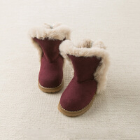 davebella戴维贝拉童装冬季新款女童靴子宝宝加绒保暖棉靴DB11832
