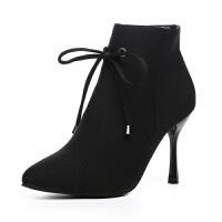 欧美时尚低筒纯色尖头时装靴 橡胶细跟女鞋 侧拉链保暖耐磨高跟鞋
