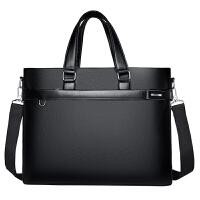 加厚公文包男商务休闲手提包横款男士包包单肩包软皮电脑包斜跨包