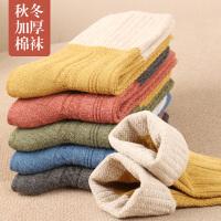 女士秋冬加厚中筒棉袜纯色棉质休闲复古文艺中长腰女袜子保暖