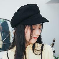 帽子女秋冬季韩版百搭羊毛网红八角帽纯色贝雷鸭舌帽潮冬天
