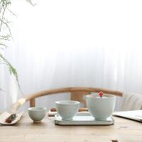 黑陶一壶两杯 办公旅行陶瓷茶盘茶壶茶杯功夫茶具套装