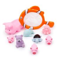 宝宝益智浴室游泳洗澡玩具鱼捞捞乐软胶小猪捏捏乐减压玩具