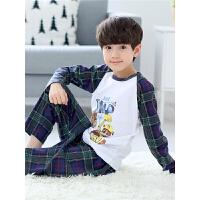儿童睡衣长袖男童春秋季宝宝圆领套装10-15岁大童空调服
