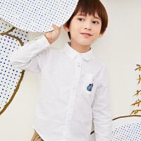 【6折价:113.4元】马拉丁童装男大童衬衫春装2020年新款休闲百搭翻领白色衬衫
