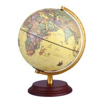 32cm书房装饰品欧式有经纬度25CM仿古复古地球仪高清 复古实木质办公室摆件家居摆设