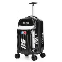 汽车卡通20寸18寸儿童拉杆箱万向轮旅行箱行李箱男女宝宝可坐可骑 黑色越野 可立推万向轮