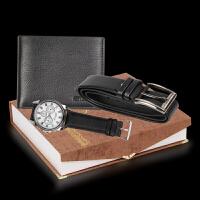 3件套礼盒装 礼品套装钱包男士短款皮带手表 三件套