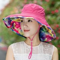 防晒帽子女夏天遮阳帽遮脸护颈太阳帽大沿骑车可折叠凉帽女沙滩帽