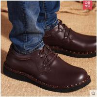 百搭男鞋男士休闲鞋子韩版青年潮鞋圆头板鞋真皮大头宽脚皮鞋PZ7802