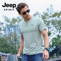 吉普(JEEP)短袖T恤 男士棉v领休闲短袖T恤 时尚潮流简约运动衫 男士打底衫