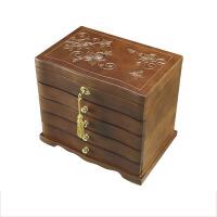 手工雕刻 实木首饰盒带锁木质复古首饰收纳盒结婚礼物