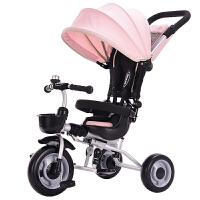 儿童脚踏三轮车1-3周岁宝宝婴幼儿小孩轻便折叠手推脚蹬车YW07 Pink 樱花粉