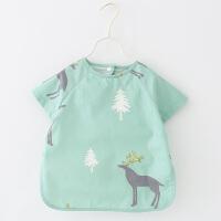 夏季宝宝罩衣短袖儿童围兜饭兜婴儿围裙防水吃饭衣反穿衣薄款