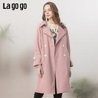 【清仓5折价404】Lagogo/拉谷谷2019年春季新款时尚显气质女风衣IAFF21ZG52