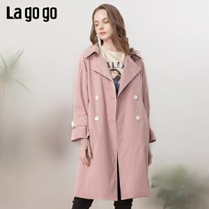 【开学季单件五折叠300-30优惠券】Lagogo/拉谷谷2019年春季新款时尚显气质女风衣IAFF21ZG52