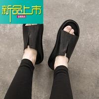新品上市青少年真皮凉鞋韩版潮流帅气个性两穿男生凉鞋原宿风 韩国 黑色