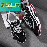新品上市的鞋子18新款情侣鞋原宿百搭运动休闲鞋跑步鞋男老嗲鞋 黑色