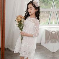 儿童连衣裙 女童连衣裙2019秋季新款韩版女孩中大童公主裙洋气儿童白色蕾丝裙子