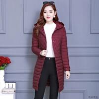 棉衣女2018新款秋冬韩版时尚中长款轻薄棉袄修身连帽羽绒外套