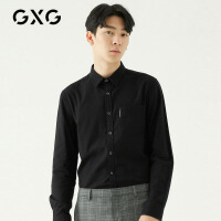 GXG男装 秋季流行时尚韩版蓄热面料黑色休闲长袖衬衫衬衣男