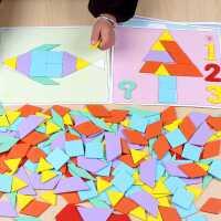 �和�七巧板拼�D智力早教�缀涡�钇窗�3-4-6�q男女孩����益智玩具