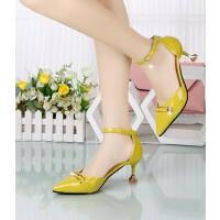 性感高跟鞋女细跟一字扣带中空韩版粉色中跟5cm少女工作面试单鞋