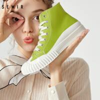 【2.7折价:97元】高帮帆布鞋女年春季新款牛油果绿潮鞋透气帆布鞋百搭小白鞋子