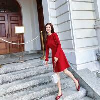 卡贝琳女2019秋装法式维多利亚复古红色针织连衣裙女很仙的法国小众a字裙子女
