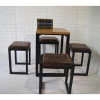 欧式复古矮凳 美式实木凳方凳矮凳复古铁艺换鞋凳户外家具椅凳床边凳休闲椅