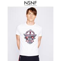 NSNF双色厚板胶纯棉圆领白色男款T恤 男装2017短袖新款 修身针织潮牌男装