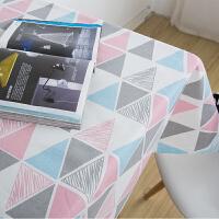 文艺小清新几何图案抽象桌布北欧田园棉麻布艺简约现代茶几台布y 粉红几何三角